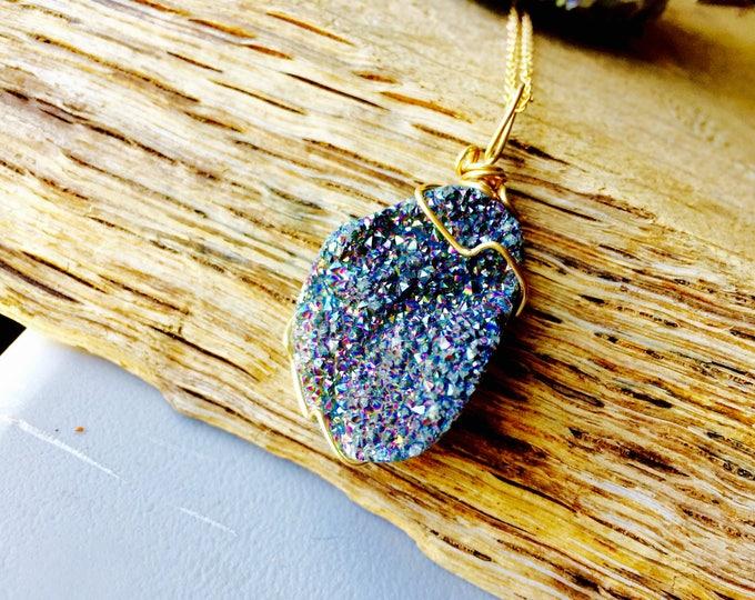 Rainbow Titanium Druzy Crystal Pendant Necklace