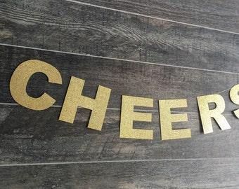 Cheers Gold Glitter Banner • Custom Banner • Bridal Shower • Wedding • Bachelorette • Birthday • Baby Shower • Engagement • Photo Prop