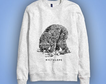 Sweatshirt gris: lynx NYCTALOPE (nyctalopia, eagle eye, night blindness bobcat) animal totem 2016 illustration