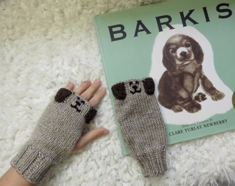 Puppy Mitts, Available in Child or Adult sizes, fingerless gloves, vegan, mitts, mittens, dog, puppy, hand knit