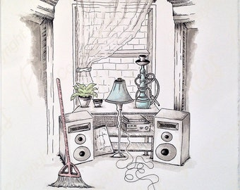 Montreal's living room 2 / drawing ink and watercolor