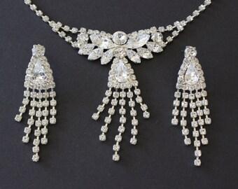 Vintage Rhinestone Angel Tassel Necklace and Pierced Earrings Set Demi Parure Silver Tone