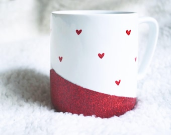 Tiny Hearts / Red Glitter Mug