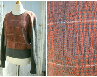 JAEGER Merino Wool Jumper 80s Grey and Coral Sweater Check Print Size M