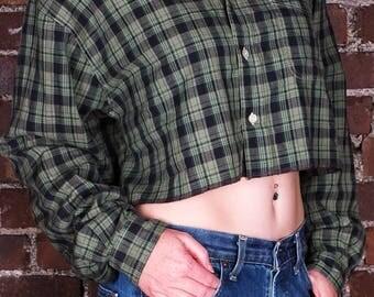 Vintage 90s Grunge Plaid Cropped Shirt Top Green Blue Check Pattern
