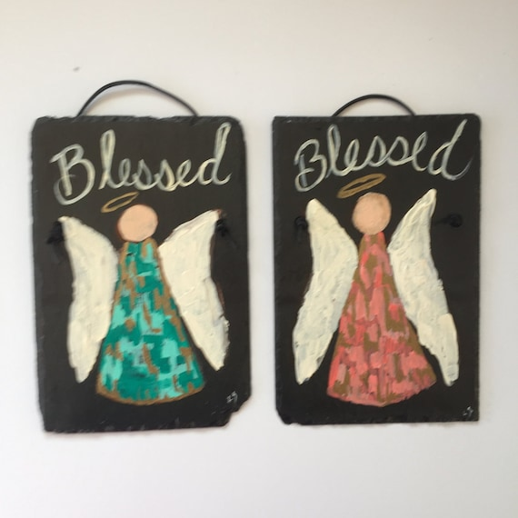 Angel door hanging, Angel Wall hanging, Front door decor, Hand painted 8 X 12 slate plaque, Gift for baby, Blessed Angel wall hanging