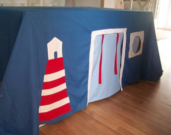 Children's Fabric Playhouse , Tablecloth Playhouse Nautical Theme, Tent ,wendy house, playhouse, indoor or outdoor, fort