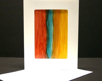 Handpainted greeting card Abstract Art Alcohol Ink blank greeting card,envelope,art collectable, terra cotta yellow teal one of a kind