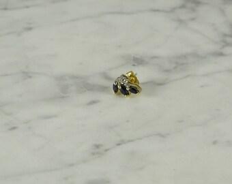 14K Gold / Sapphire / Diamond Earring ( 1 ) (pierced)
