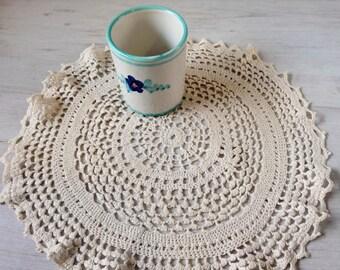 Italian round crochet doily, beige doily vintage