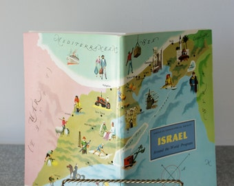 ISRAEL American Geographical Society Travel Booklet, Unused Stickers Included, Around the World, Travel Guide, Ephemera