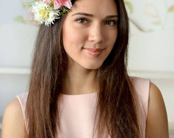 Woodland headband flower head wreath wild flowers crown fern hair Pulsatilla crown spring flowers pink Bridal floral crown Forest wedding