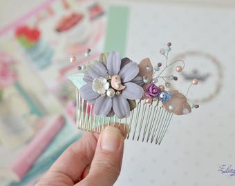 Cream purple hair comb floral crystal vine hair Fairy hair comb Princess head piece pastel hair vine comb Girl hair jewelry flower