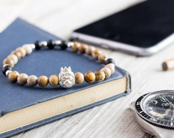 6mm - Jasper stone & matte black onyx beaded stretchy bracelet with sterling silver Lion and beads, made to order mens beaded bracelet