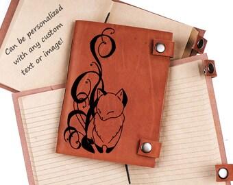 Fox journal - Kawaii notebook - leather journal - personalized journal - custom journal - notebook - gift idea - gift for her