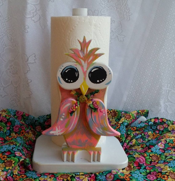 Owl Paper Towel Holder Wooden Owl Kitchen By