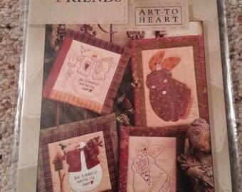 Treasured Friends #143 by Nancy Halvorsen - Art to Heart - Angel Quilt & Stitchery - Snowman Quilt - Uncut Stitchery Pattern