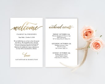 Wedding itinerary etsy wedding welcome bag note gold wedding calligraphy welcome bag letter printable wedding itinerary junglespirit Images