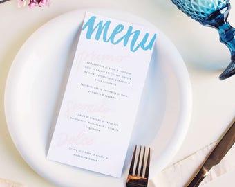 Menu, Menu matrimonio, Wedding menu, Wedding menu card, Event menu, Brush calligraphy, Calligrafia, Watercolor Calligraphy, Hand lettering