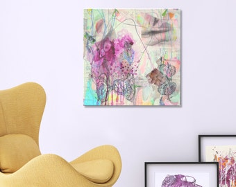 "Canvas art large abstract decor nursery abstract art livingroom decor artwork dorm room art entryway art decor 20x20"""