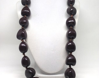 Gorgeous Big Chunk Wood Brown Knotted Ribbon Closer Necklace