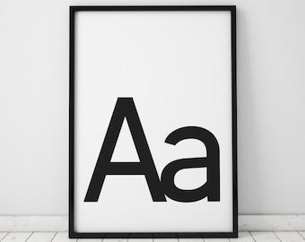 Aa Letter Print, Initial Wall Art, Scandinavian Art, Scandinavian Poster, Initial Poster Aa Letter Poster, Aa Letter Print, INSTANT DOWNLOAD