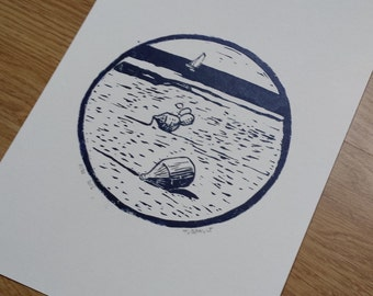 Low tide - buoys - linocut