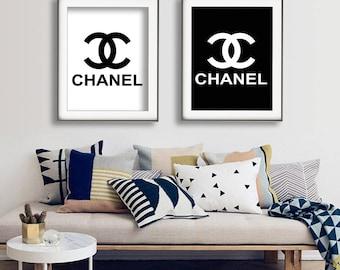 Chanel Logo Print, Chanel Logo Poster, Paris Fashion Print, Fashion Print Set, Coco Chanel Logo Print Set, CC Logo, Instant Download Print