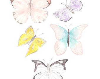 Butterfly Watercolor Print, Pretty Butterflies, Colorful Butterflies