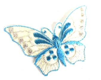 Butterfly applique, 1930s vintage embroidered applique. Vintage patch, sewing supply. Blue Applique, Crazy quilt #64AGC8K2C