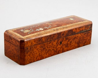 REDUCED French Burl Wood Glove Box with Bone and Mother of Pearl Inlay [283]