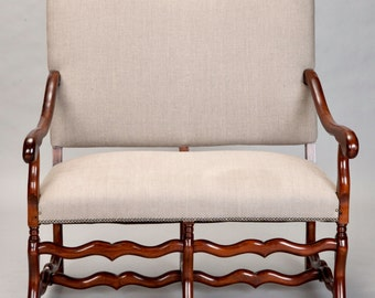REDUCED 1920's French Os De Mouton Walnut Settee  [4034]