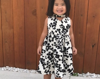 Black and White Floral Choker Dress