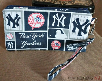 NY Yankees Wristlet -  Yankees Pinstripe Wallet - MLB Zippered Pouch - Clutch - Gift - Quick Shipping - OOAK - Custom Made