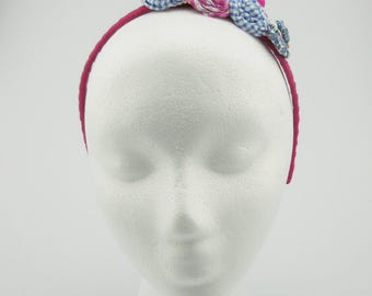 Flower headband (pink, blue, white)