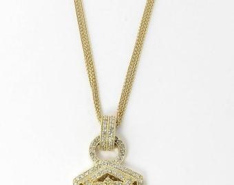 "Vintage BITA 14K Yellow Gold Diamond Pendant Necklace 1.44 carats 16""  #2055"