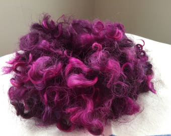 Rare Breed Hand Dyed Purple Cotswold Sheep Curly Wool Locks 1 oz for Spinning, Rug Hooking