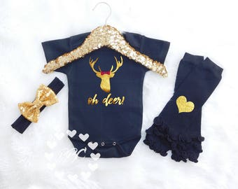 """Baby Girl Deer Outfit,  Girl Baby Clothes, """"oh deer"""" Baby Outfit, Girls Gold Deer Shirt, Country Baby, Headband Leg Warmers One Piece Set"""