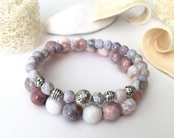 Agate stacking bracelets; semiprecious stone beaded bracelets; friendship stacking bracelets