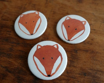 Set of three buttons pins with illustrated fox brooch pin