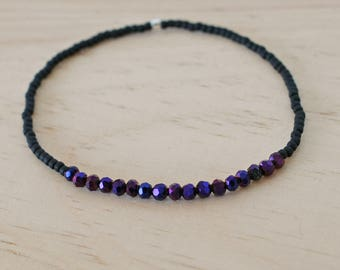 bead bracelet, small bead bracelet, sparkly bead bracelet, black dark blue bead bracelet, layering bracelet, thin bead bracelet, stretch