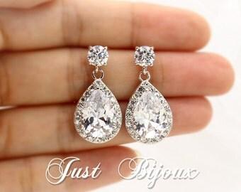 Wedding Earrings Platinum plated Zirconia Earrings Wedding Jewelry Bridal Earrings Bridesmaid Gift Wedding Jewelry Bridesmaid Earrings
