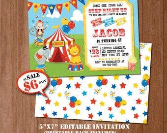 CIRCUS Birthday Invitation-SELF-EDITING Carnival invitation--Circus Party-Carnival Party-Circus Birthday-Carnival Birthday Invitation-A116