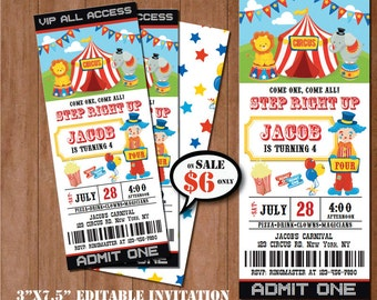 CIRCUS Birthday Invitation-SELF-EDITING Carnival invitation--Circus Party-Carnival Party Ticket Invite-Carnival Birthday Ticket Invitation