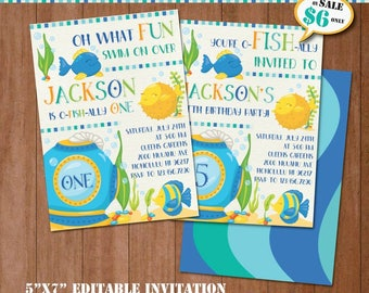 Fish Birthday Invitation-SELF-EDITING Printable Under The Sea Party Invite-Pool Party-Ocean Party-Splash Party-First Birthday-Any Age-A128