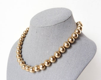 Vintage Gold Balls Necklace with Adjustable Length from the 1940s
