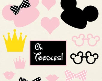 black and pink Minnie Mouse Photobooth Printables, Minnie Mouse Birthday, photo booth props, photobooth props, digital files