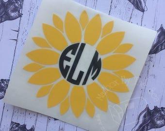 Sunflower Monogram Decal | Yeti Decal | Monogram Car Decal |  Sunflower Decal | Rtic Decal | Monogram Decal | Car Decal | Preppy