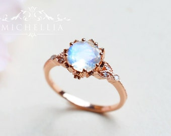 Vintage Floral Ring in Moonstone, Rainbow Moonstone Leaf Engagement Ring, Available in 14K Gold, 18K Gold, or Platinum, R2001