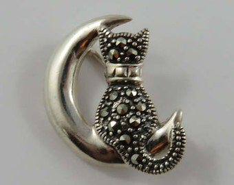 Sterling Silver Cat Sitting on the Moon Marcacite Brooch